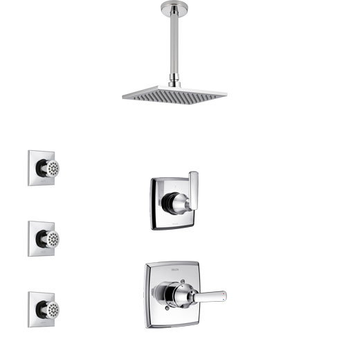 Delta Ashlyn Chrome Finish Shower System with Control Handle, 3-Setting Diverter, Ceiling Mount Showerhead, and 3 Body Sprays SS14643