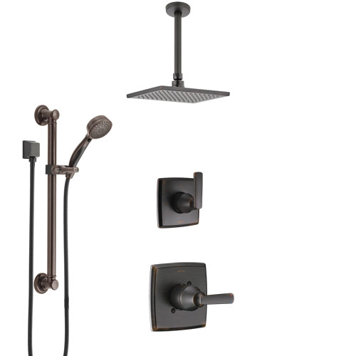 Delta Ashlyn Venetian Bronze Shower System with Control Handle, 3-Setting Diverter, Ceiling Mount Showerhead, and Hand Shower with Grab Bar SS1464RB2