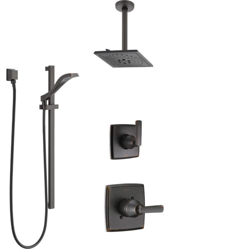 Delta Ashlyn Venetian Bronze Shower System with Control Handle, 3-Setting Diverter, Ceiling Mount Showerhead, and Hand Shower with Slidebar SS1464RB6
