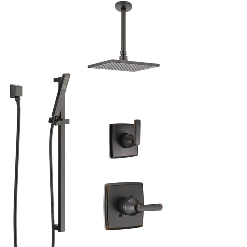 Delta Ashlyn Venetian Bronze Shower System with Control Handle, 3-Setting Diverter, Ceiling Mount Showerhead, and Hand Shower with Slidebar SS1464RB7