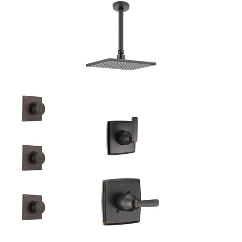 Delta Ashlyn Venetian Bronze Finish Shower System with Control Handle, 3-Setting Diverter, Ceiling Mount Showerhead, and 3 Body Sprays SS1464RB8