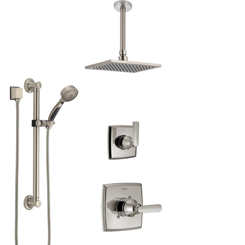 Delta Ashlyn Stainless Steel Finish Shower System with Control Handle, Diverter, Ceiling Mount Showerhead, and Hand Shower with Grab Bar SS1464SS2