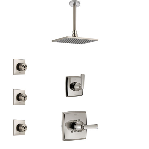Delta Ashlyn Stainless Steel Finish Shower System with Control Handle, 3-Setting Diverter, Ceiling Mount Showerhead, and 3 Body Sprays SS1464SS4