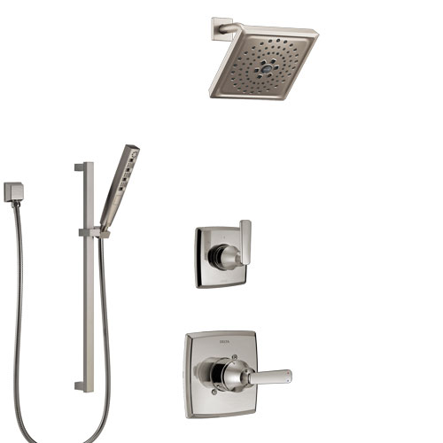 Delta Ashlyn Stainless Steel Finish Shower System with Control Handle, 3-Setting Diverter, Showerhead, and Hand Shower with Slidebar SS1464SS6