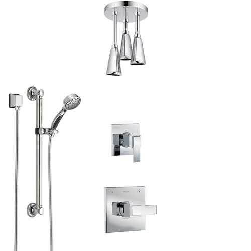 Delta Ara Chrome Finish Shower System with Control Handle, 3-Setting Diverter, Ceiling Mount Showerhead, and Hand Shower with Grab Bar SS14672
