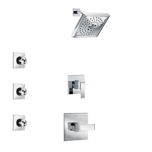 Delta Ara Chrome Finish Shower System with Control Handle, 3-Setting Diverter, Showerhead, and 3 Body Sprays SS14677