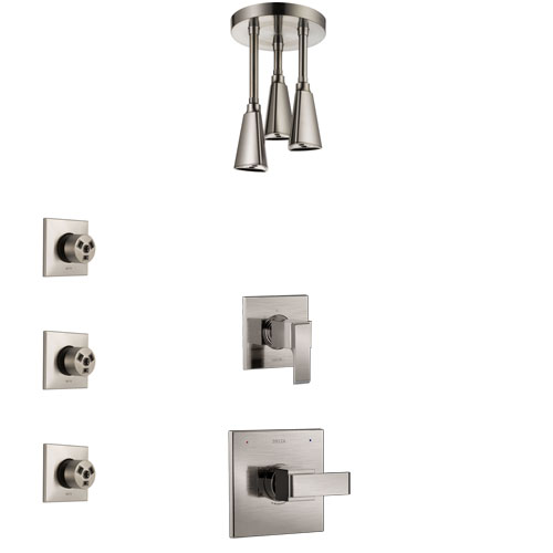 Delta Ara Stainless Steel Finish Shower System with Control Handle, 3-Setting Diverter, Ceiling Mount Showerhead, and 3 Body Sprays SS1467SS5