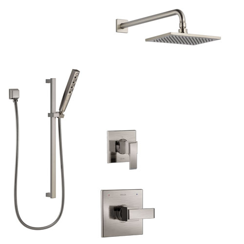 Delta Ara Stainless Steel Finish Shower System with Control Handle, 3-Setting Diverter, Showerhead, and Hand Shower with Slidebar SS1467SS7