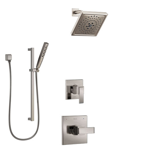 Delta Ara Stainless Steel Finish Shower System with Control Handle, 3-Setting Diverter, Showerhead, and Hand Shower with Slidebar SS1467SS8