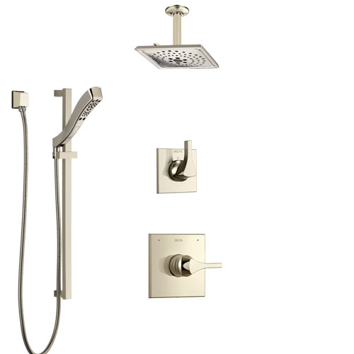 Delta Zura Polished Nickel Shower System with Control Handle, 3-Setting Diverter, Ceiling Mount Showerhead, and Hand Shower with Slidebar SS1474PN2