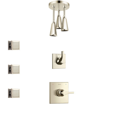 Delta Zura Polished Nickel Finish Shower System with Control Handle, 3-Setting Diverter, Ceiling Mount Showerhead, and 3 Body Sprays SS1474PN5