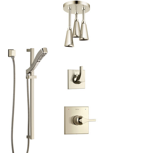 Delta Zura Polished Nickel Shower System with Control Handle, 3-Setting Diverter, Ceiling Mount Showerhead, and Hand Shower with Slidebar SS1474PN7