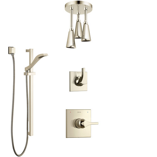 Delta Zura Polished Nickel Shower System with Control Handle, 3-Setting Diverter, Ceiling Mount Showerhead, and Hand Shower with Slidebar SS1474PN8