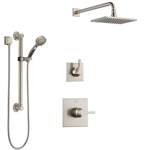 Delta Zura Stainless Steel Finish Shower System with Control Handle, 3-Setting Diverter, Showerhead, and Hand Shower with Grab Bar SS1474SS1