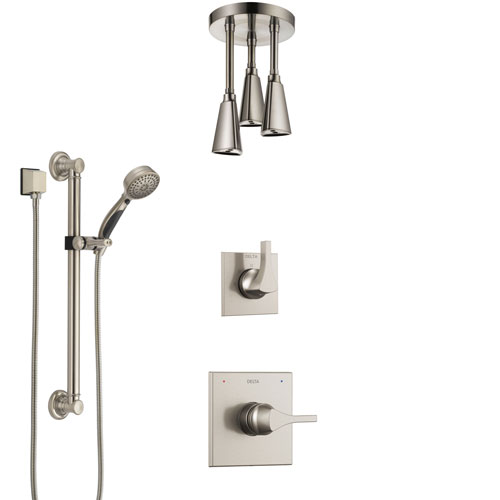 Delta Zura Stainless Steel Finish Shower System with Control Handle, Diverter, Ceiling Mount Showerhead, and Hand Shower with Grab Bar SS1474SS5