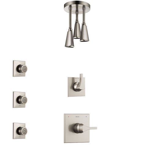 Delta Zura Stainless Steel Finish Shower System with Control Handle, 3-Setting Diverter, Ceiling Mount Showerhead, and 3 Body Sprays SS1474SS6