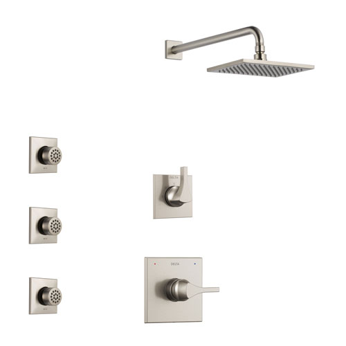 Delta Zura Stainless Steel Finish Shower System with Control Handle, 3-Setting Diverter, Showerhead, and 3 Body Sprays SS1474SS7
