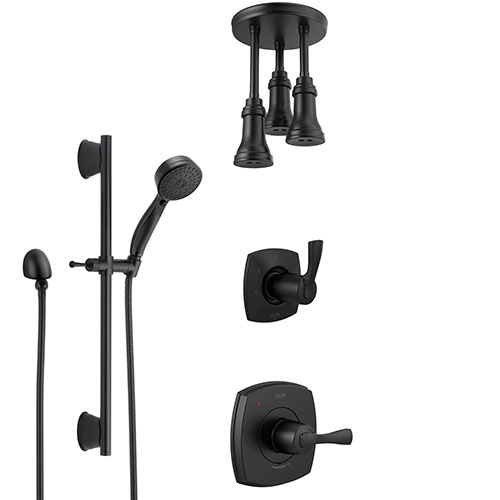 Delta Stryke Matte Black Finish Shower System with Diverter, Triple Pendant Ceiling Mount Showerhead Fixture, and Hand Spray with Slidebar SS14763BL11