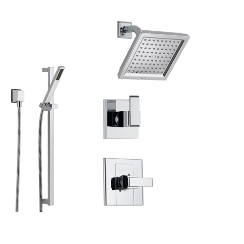 Delta Arzo Chrome Shower System with Normal Shower Handle, 3-setting Diverter, Modern Square Shower Head, and Hand Held Shower SS148683