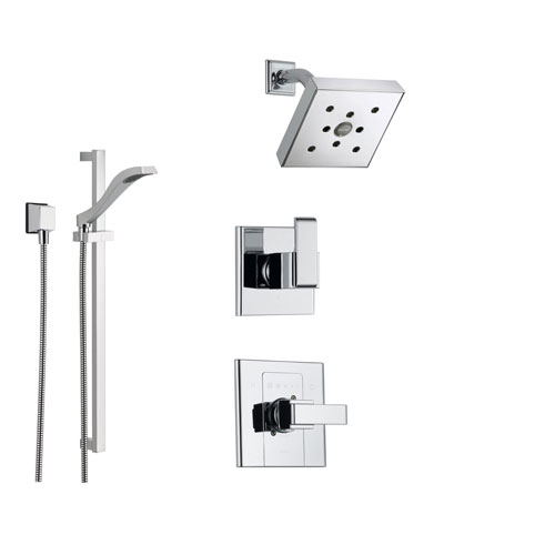 Delta Arzo Chrome Shower System with Normal Shower Handle, 3-setting Diverter, Modern Square Showerhead, and Handheld Shower SS148684