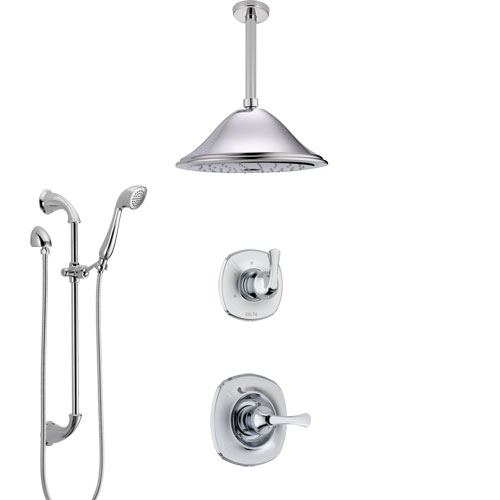 Delta Addison Chrome Finish Shower System with Control Handle, 3-Setting Diverter, Ceiling Mount Showerhead, and Hand Shower with Slidebar SS14921