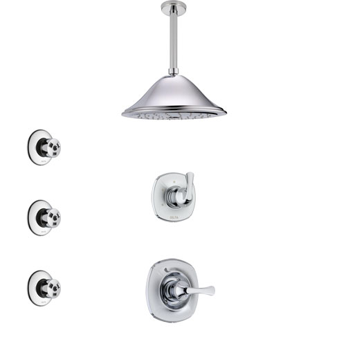 Delta Addison Chrome Finish Shower System with Control Handle, 3-Setting Diverter, Ceiling Mount Showerhead, and 3 Body Sprays SS14922
