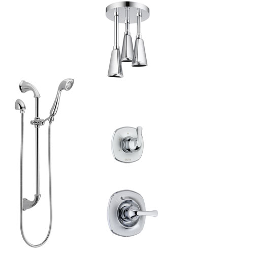Delta Addison Chrome Finish Shower System with Control Handle, 3-Setting Diverter, Ceiling Mount Showerhead, and Hand Shower with Slidebar SS14925