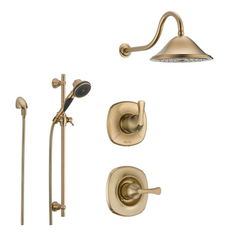 delta addison champagne bronze shower system with normal shower handle 3setting diverter large rain shower head and handheld spray ss149281cz
