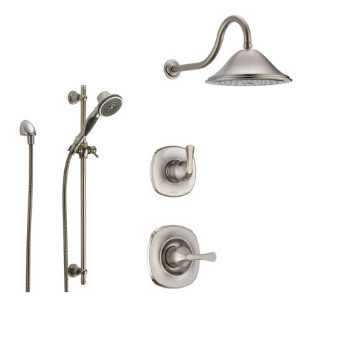 Delta Addison Stainless Steel Shower System with Normal Shower Handle, 3-setting Diverter, Large Rain Showerhead, and Handheld Shower SS149281SS