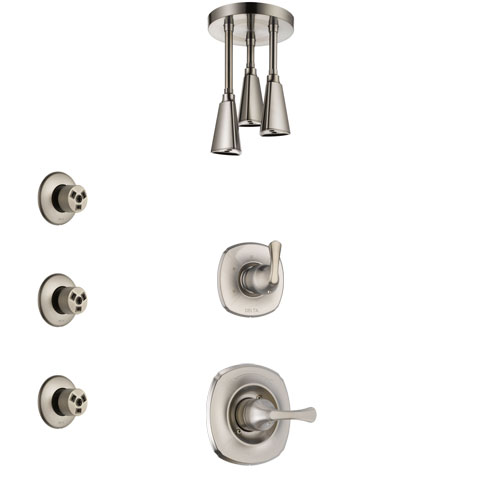 Delta Addison Stainless Steel Finish Shower System with Control Handle, 3-Setting Diverter, Ceiling Mount Showerhead, and 3 Body Sprays SS1492SS7