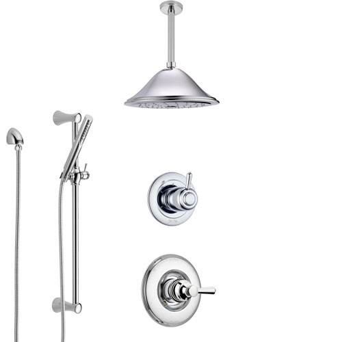 Delta Linden Chrome Finish Shower System with Control Handle, 3-Setting Diverter, Ceiling Mount Showerhead, and Hand Shower with Slidebar SS14931