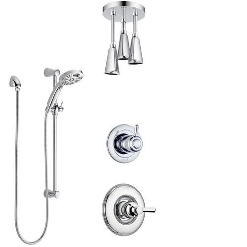 Delta Linden Chrome Finish Shower System with Control Handle, 3-Setting Diverter, Ceiling Mount Showerhead, & Temp2O Hand Shower with Slidebar SS14938