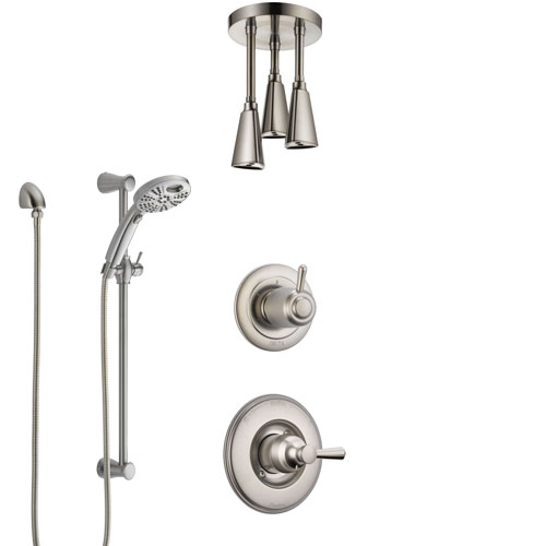 Delta Linden Stainless Steel Finish Shower System with Control Handle, Diverter, Ceiling Mount Showerhead, and Temp2O Hand Shower SS1493SS7