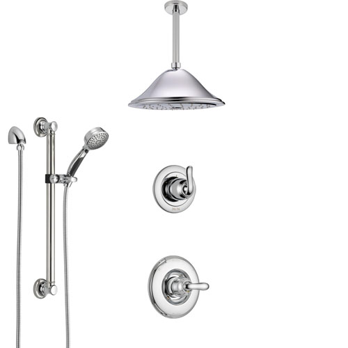 Delta Linden Chrome Finish Shower System with Control Handle, 3-Setting Diverter, Ceiling Mount Showerhead, and Hand Shower with Grab Bar SS14942