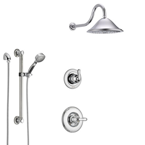 Delta Linden Chrome Finish Shower System with Control Handle, 3-Setting Diverter, Showerhead, and Hand Shower with Grab Bar SS14944