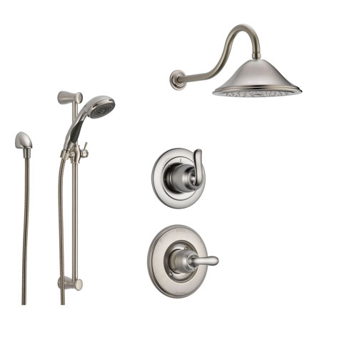 delta linden stainless steel shower system with normal shower handle 3setting diverter large rain showerhead and handheld shower ss149481ss