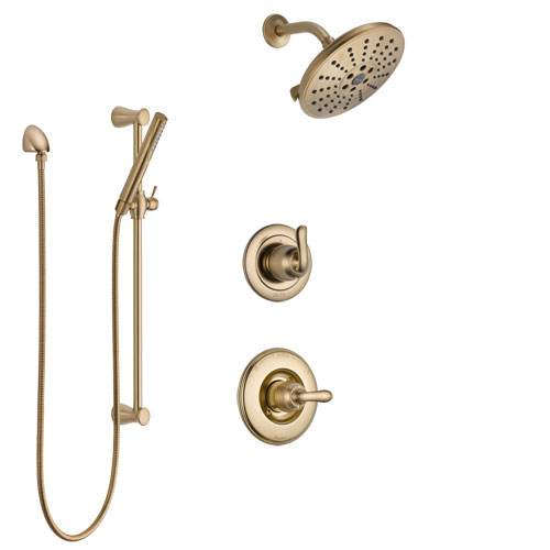 Delta Linden Champagne Bronze Finish Shower System with Control Handle, 3-Setting Diverter, Showerhead, and Hand Shower with Slidebar SS1494CZ3