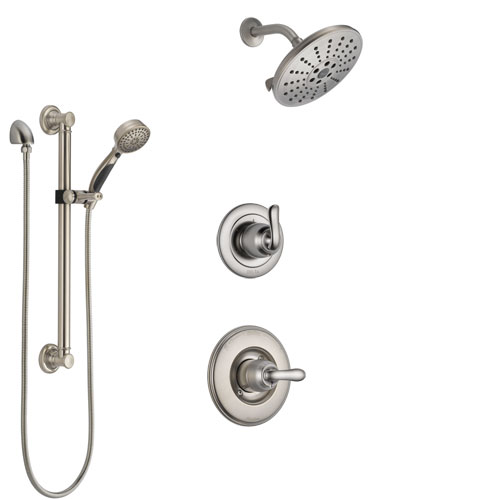Delta Linden Stainless Steel Finish Shower System with Control Handle, 3-Setting Diverter, Showerhead, and Hand Shower with Grab Bar SS1494SS1