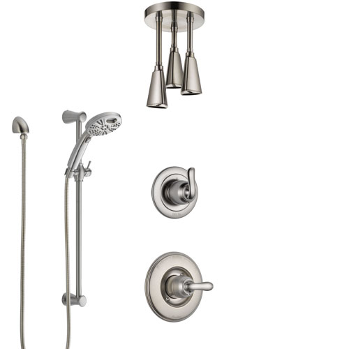 Delta Linden Stainless Steel Finish Shower System with Control Handle, Diverter, Ceiling Mount Showerhead, and Temp2O Hand Shower SS1494SS4