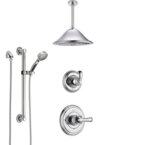 Delta Cassidy Chrome Finish Shower System with Control Handle, 3-Setting Diverter, Ceiling Mount Showerhead, and Hand Shower with Grab Bar SS149711