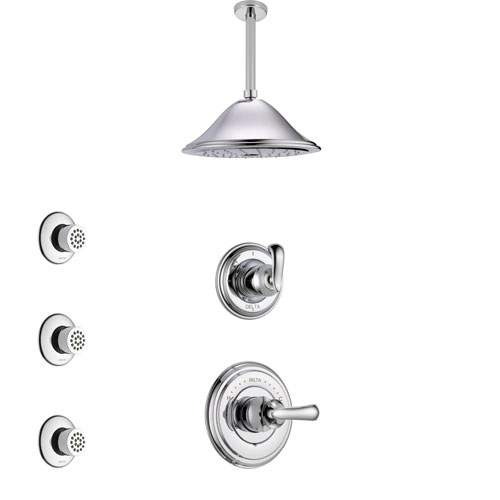 Delta Cassidy Chrome Finish Shower System with Control Handle, 3-Setting Diverter, Ceiling Mount Showerhead, and 3 Body Sprays SS149712