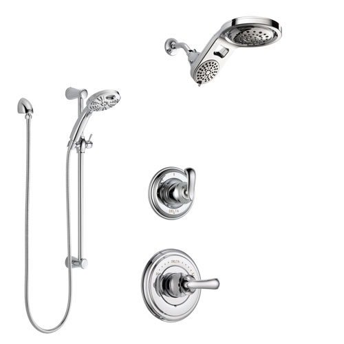 Delta Cassidy Chrome Finish Shower System with Control Handle, 3-Setting Diverter, Dual Showerhead, and Temp2O Hand Shower with Slidebar SS149716