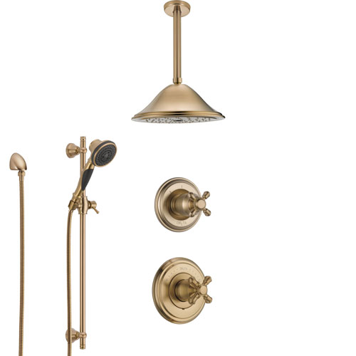 Delta Cassidy Champagne Bronze Shower System with Control Handle, Diverter, Ceiling Mount Showerhead, and Hand Shower with Slidebar SS14971CZ1