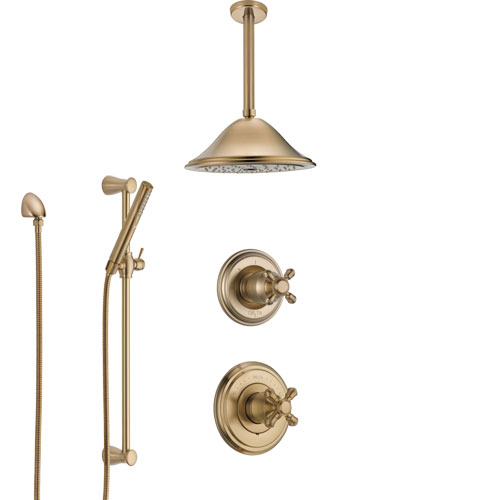 Delta Cassidy Champagne Bronze Shower System with Control Handle, Diverter, Ceiling Mount Showerhead, and Hand Shower with Slidebar SS14971CZ2