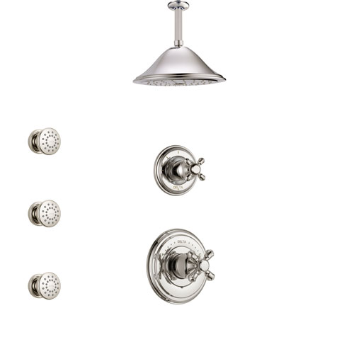 Delta Cassidy Polished Nickel Finish Shower System with Control Handle, 3-Setting Diverter, Ceiling Mount Showerhead, and 3 Body Sprays SS14971PN4
