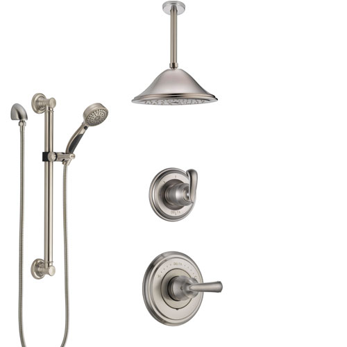 Delta Cassidy Stainless Steel Finish Shower System with Control Handle, Diverter, Ceiling Mount Showerhead, and Hand Shower with Grab Bar SS14971SS2