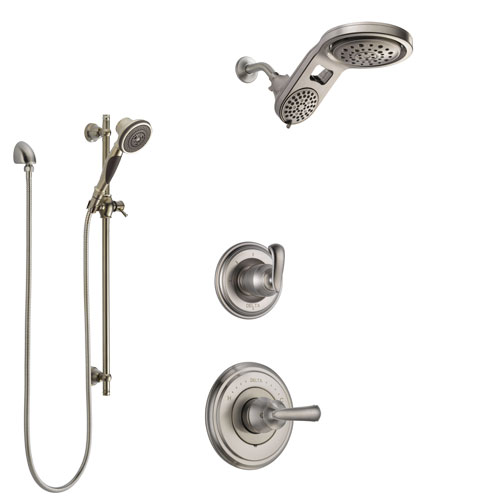 Delta Cassidy Stainless Steel Finish Shower System with Control Handle, 3-Setting Diverter, Dual Showerhead, and Hand Shower with Slidebar SS14971SS5