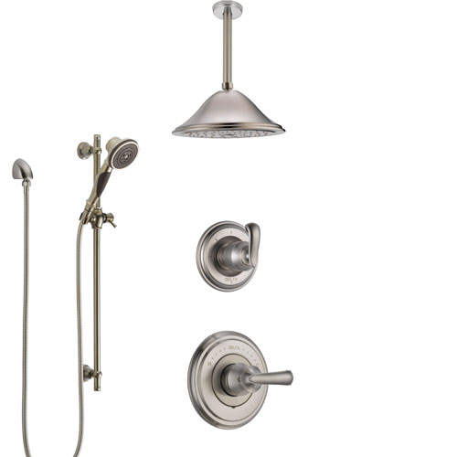 Delta Cassidy Stainless Steel Finish Shower System with Control Handle, Diverter, Ceiling Mount Showerhead, and Hand Shower with Slidebar SS14971SS7