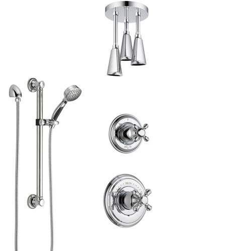 Delta Cassidy Chrome Finish Shower System with Control Handle, 3-Setting Diverter, Ceiling Mount Showerhead, and Hand Shower with Grab Bar SS149723