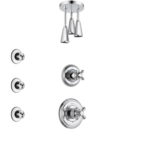 Delta Cassidy Chrome Finish Shower System with Control Handle, 3-Setting Diverter, Ceiling Mount Showerhead, and 3 Body Sprays SS149724